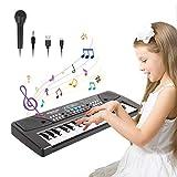TWFRIC Keyboard Klavier,37 Schlüssel Kinder Klavier Piano frühe Bildung mit Mikrofo Multifunktions Musik Klaviertastatur,Jungen Mädchen und Einsteiger Spielzeug Geschenk (Schwarz)