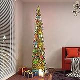 Lucoss künstlicher Weihnachtsbaum 1.5M, Xmas Faltbarer Weihnachtsbaum Deko -Pailletten-Lametta-Bleistift Künstlicher Weihnachtsbaum mit Ständer für Zuhause, Wohnung, Weihnachtsdekoration(Gold)