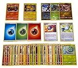 Pokemon 50 Verschiedene deutsche Karten inkl. Holo, Reverse Holos & Rare Karte + GECO® Spielmatte