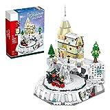 MSEI Winter Village Bausteine Set Weihnachten Zug Bahnhof Beweglich Weihnachten Konstruktion Set kompatibel mit Lego - 1203 Stück
