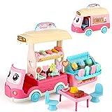 BeebeeRun Eiswagen 50 STK. Süßes Geschäftsspielzeug mit Süßigkeiten und Eiscreme Geben Sie vor, Kleinkindspielzeug für Kinder Mädchen Junge