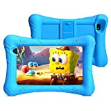 Pritom Kids Tablet, 32 GB ROM, Kinder-Tablet, Quad-Core-Prozessor, HD-IPS-Display, 7-Zoll-WLAN-Android-Tablet, Kindersicherung, Bluetooth, Dual-Kamera, Tablet für Kinder (Blau)
