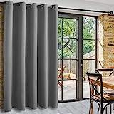DWCN Terrassen-Schiebetür-Vorhänge – extra breite Vorhänge für Glastür, Raumteiler, Verdunkelung, Thermovorhang mit Ösen oben für Schlafzimmer-Partition, 2 m breit x 2,1 m hoch, hellgrau