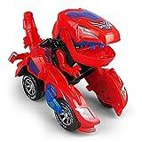 jillbang Dinosaur Auto Spielzeug Transformer, Transformers Spielzeug Mit Licht Und Soundfunktion, Fahrzeuge Spielzeug für Kinder ab 3+ Jahren