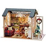 Galapare DIY Weihnachten Miniatur Puppenhaus Kit, Realistische Mini 3D Holz Haus Zimmer Handwerk mit Möbel LED Lichter Kinder Tag Geburtstag Geschenk Weihnachten Dekoration