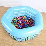 Kinderpool Aufblasbarer Pool Kinderpool Dicker Swimmingpool 133*133*50cm Aufblasbarer 6-Eck-Tri-Ring-Pool