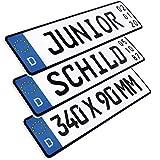 L & P Car Design 1 Stück Kennzeichen Junior-Schild 34cm x 9cm Geburtstags Schild Datum Wunschtext Wunschkennzeichen Wunschprägung Namenskennzeichen Namensschild Bobbycar Kettcar Fun Schild