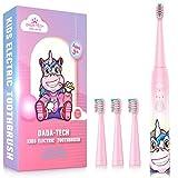 Elektrische Zahnbürste Kinder Wiederaufladbare, Ultraschall kinderzahnbürste mit Timer mit Schalltechnologie für Jungen und Mädchen (Rosa Einhorn)