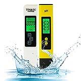 PH Messgerät BuyWeek pH wert messgerät & TDS EC Messgerät und Temperatur 4 in 1 Set digital Wasserqualitätstest Pool Tester Leitwertmessgerät mit LED für Trinkwasser Schwimmbad Pools