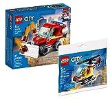 Collectix Lego Feuerwehr Set - Mini-Löschfahrzeug 60279 + Feuerwehrhubschrauber 30566, Geschenkset ab 5 Jahren