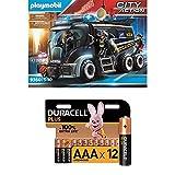 Playmobil City Action 9360 SEK-Truck mit Licht- und Soundeffekten, Ab 5 Jahren + Duracell Plus AAA Alkaline-Batterien, 12er Pack