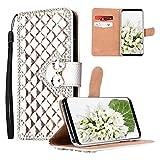 Yewos Kompatibel mit Samsung Galaxy A42 5G Hülle Glitzer Brieftasche für Mädchen,Roségold Strass 3D Diamant Handyhülle PU Leder Tasche Schutzhülle mit Karten Slots Stand,Magnetisch,Handschlaufe