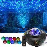 LED Sternenhimmel Projektor Lampe, Rotierende Wasserwellen Galaxy Light mit Fernbedienung und Bluetooth Lautsprecher, Projektor Nachtlicht für Kinder Erwachsene Party