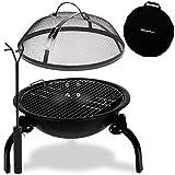 SunnyMoon® 2-in-1-Feuerschale - inkl. praktischer Tragetasche - Feuerstelle/Grill für Camping, Garten, Outdoor, Terrasse - Robust, kompakt, zusammenklappbar - 48 x 48 x 38 cm