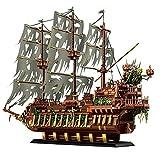 Piratenschiff Modell, 3653 Teile Modular Bausteine Modell Für Fliegender Holländer Piratenschiff,Geisterschiff Modellbausatz Kompatibel Mit Lego 13138,85 * 15 * 60cm