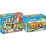 PLAYMOBIL 9453 Spielzeug-Große Schule mit Einrichtung & 9419 - Schulbus Spiel