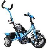 Dreirad Sicherheitsgurt abnehmbare Lenkstange verstellbare Fußablage Kinderdreirad Fahrrad Kinder Kleinkinder Baby blau