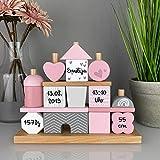 Geschenk zur Geburt Mädchen'Steckspiel Haus' rosa - bedruckt personalisierbar - Stapelturm mit Name & Geburtsdaten