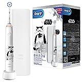 Oral-B Junior Star Wars Special Edition Elektrische Zahnbürste für Kinder ab 6 Jahren, 360°-Andruckkontrolle, weiche Borsten, 2 Modi inkl. Sensitiv, Timer, Reiseetui, weiß