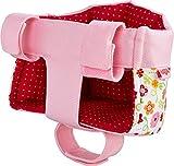 HABA 304109 Fahrradsitz Blumenwiese, Puppensitz mit Klettverschluss für Fahrrad und Schlitten Puppenzubehör Puppen Spielzeug ab 18 Monaten, Rot/rosa