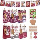 Adventskalender zum Befüllen, 24 Adventskalender Kraftpapiern Tüten mit Holzklammern und Zahlen Aufkleber, Adventskalender 2021 kinder, Weihnachten Geschenksäckchen für Hochzeiten/Weihnachten/Party