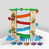 Kinder Kugelbahn Autorennbahn Holz & Hammerndes Pounding & Bankspielzeug für 18 Monate 2 3 4 Jährige Old Boy Geschenke, das Multifunktionale Holzauto Rampenspielzeug mit 4 Zick-Zack-Autos