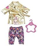 Zapf Creation 830802 BABY born Happy Birthday Mantel- goldener Puppenmantel für 43 cm Puppen mit bunter Hose im Cosmic-Comic-Print, inkl. 1 Kleiderbügel