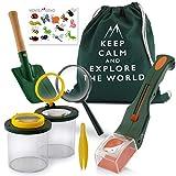 Monte Stivo® Entdecker-Set für Kinder | Insektenfänger Becher-Lupe Turnbeutel | Outdoor-Spielzeug für draußen Garten | Geschenk Junge Mädchen