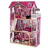 KidKraft 65093 Amelia Puppenhaus aus Holz mit Möbeln und Zubehör, Spielset mit drei Spielebenen für 30 cm große Puppen
