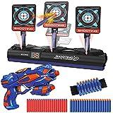 Zielscheibe für Nerf Pistole, Elektronisches Digitales Ziel mit 1 Blaster, 40 Schaumstoff Darts,Wertungfunktion & Auto Rücksetzung & Sound, Kinder Gewehr Spielzeug, Geschenk für 4-12 Jahre Jungen