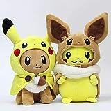 LMSG Pokemon Pikachu Eevee Plüschtier 30Cm, Anime Cartoon Cosplay Gefüllte Puppe Kinder Weihnachten 2St