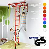 NiroSport FitTop M1 Indoor Klettergerüst für Kinder Sprossenwand für Kinderzimmer Turnwand Kletterwand, TÜV geprüft, kinderleichte Montage, max. Belastung bis ca. 130 kg (Rot)