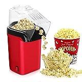Yuragim Popcornmaschine, Popcorn Maker, Heissluft Retro Popcorn Maker Fettfrei Ölfrei BPA-Freie, Popcorn Popper für Heim-Kino Zuhause, leckeres Popcorn für Zuhause, Abnehmbarer Deckel, 1200W (Rot)