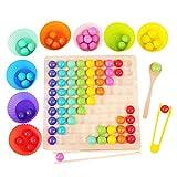 Holz Clip Beads Brettspiel, Montessori Pädagogisches Holzspielzeug, Clip Perlen Spiel Puzzle Board, Regenbogen Ball Elimination Spiel Spielzeug, Frühe Pädagogisches Brettspiel für Kinder (A)