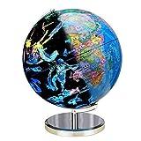 Globus für Kinder, beleuchteter Kinderglobus mit Ständer - pädagogisches Geschenk mit detaillierter Weltkarte und LED-Licht, zeigt Sternbilder bei Nacht