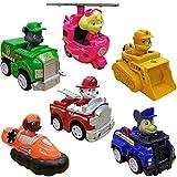 WENTS Paw Patrol Spielzeug Geschenkset mit sechs Fahrzeugen Chases Polizeiwagen, Marshalls Feuerwehrwagen, Rockys Recyclingtruck, Rubbles Bulldozer, Skyes Helikopter, Zumas Luftkissenboot