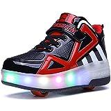 YAWJ Rolle Schuhe Bunt LED Beleuchtung Kinder Rolle Schlittschuh Schuhe Mode Turnschuhe zum Mädchen Jungen High-Top Schuhe (Color : Black Red, Size : 29)