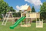 Akubi Spielturm Lotti Doppelschaukelanbau mit Klettergerüst Grün Mit Kletterwand ECO Mit Anbauplattform XL Mit Schiffsanbau unten
