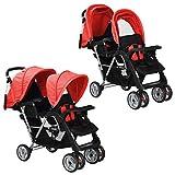 vidaXL 10111 Geschwisterwagen rot Babywagen Kinderwagen Baby Buggy Zwillingsbuggy, mehrfarbig