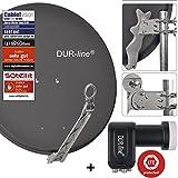 DUR-line 4 Teilnehmer Set - Qualitäts-Alu-Satelliten-Komplettanlage - Select 75cm/80cm Spiegel/Schüssel Anthrazit + Quad LNB - für 4 Receiver/TV [Neuste Technik, DVB-S2, 4K, 3D]
