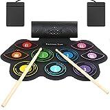 Anpro Elektronisches Schlagzeug Set, 9 Pads Elektrische Trommel Tragbares Roll-Up-Schlagzeug Entwicklungsspielzeuge mit MIDI, eingebautem Lautsprecher für Kinder, Anfänger