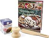 Lebkuchenglocke® (7 cm Lebkuchenformer Backset inkl. Back-Oblaten, Backbuch und Spatel