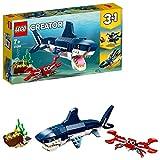 LEGO 31088 Creator Bewohner der Tiefsee, 3-in-1 Set mit Hai, Krabbe und Schatztruhe, Spielzeuge für Kinder ab 7 Jahren