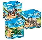 PLAYMOBIL Set zum 70341 Zoo: 70354 Flußpferd mit Baby + 70357 Nashorn mit Baby + 70358 Alligator mit Babys