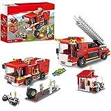 2 in 1 City Fire Truck Feuerwehrstation Bausteine Feuerwehrfahrzeuge Set Feuerwehrfahrzeuge Bausatz Konstruktionsspielzeug Geschenk Bausteine für Kinder im Alter von 6-12 (184 Stück)