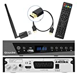 SAT-Receiver, SAWAKE Digital Satelliten Receiver für Deutschland mit HDMI Kabel, WiFi Adapter, Fernsteuerung (WiFi, HDTV, DVB-S2, HDMI, SCART, USB 2.0, Full HD 1080p, YouTube)