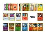 Pokemon Karten deutsch 50 Verschiedene Pokemon Karten 3 Seltene - 3 Holo - 1 zufällige Pikachu oder Glumanda Karte Originale Pokemon Karten aktuelle Sets + 100 Heartforcards® Card Guard Kartenhüllen