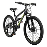 BIKESTAR Kinder Fahrrad Aluminium Fully Mountainbike 21 Gang Shimano, Scheibenbremse ab 9-14 Jahre   24 Zoll Kinderrad Vollgefedert MTB   Schwarz