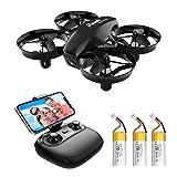 Potensic Mini Drohne A20W mit Kamera 3 Akkus RC Quadrocopter Drohne 2.4Ghz FPV Live Übertragung Ferngesteuerte Drohne Spielzeug Drohne für Einsteiger Auswechselbarer Akku Höhe Halten Schwerkraft