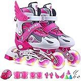 CLNAONG Roller Skates, Rollschuhe Kinder voller Flash-Set-Rollschuhen mit einem vollständigen Set von Rollschuhen Inline einstellbar (Color : Pink, Size : Small)